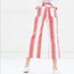 frame denim red white striped fiery jeans wide leg